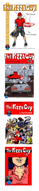 Cover images of Pizza Guy Comics