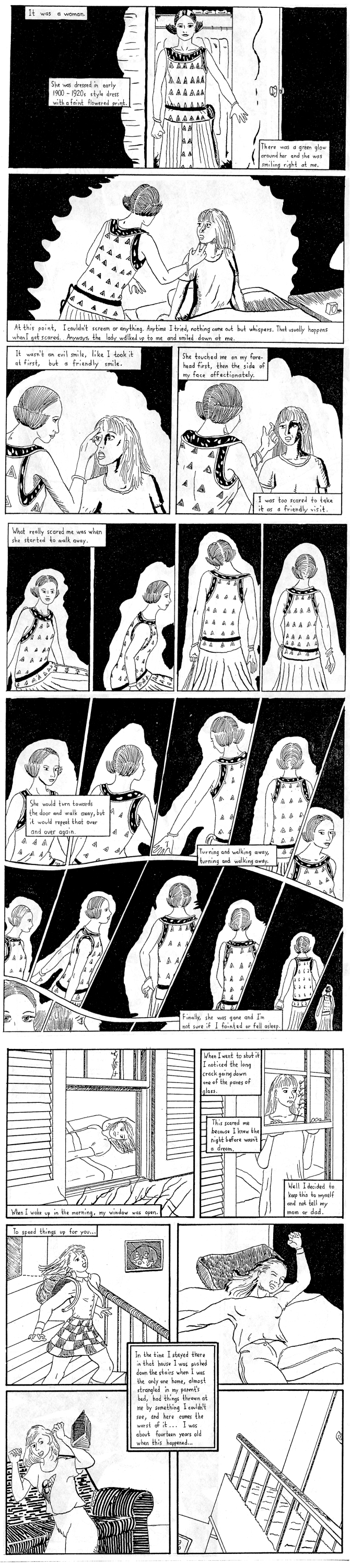 page two of comic ghost story of girl in connecticut