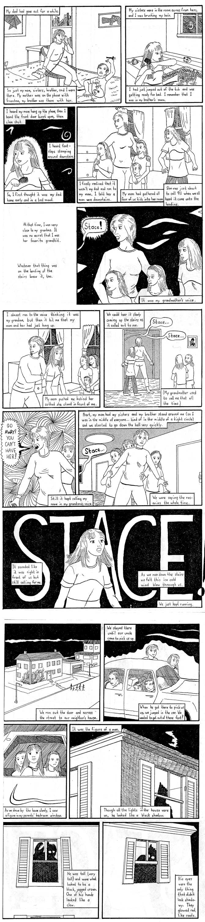 third page of ghost story comic of girl in connecticut